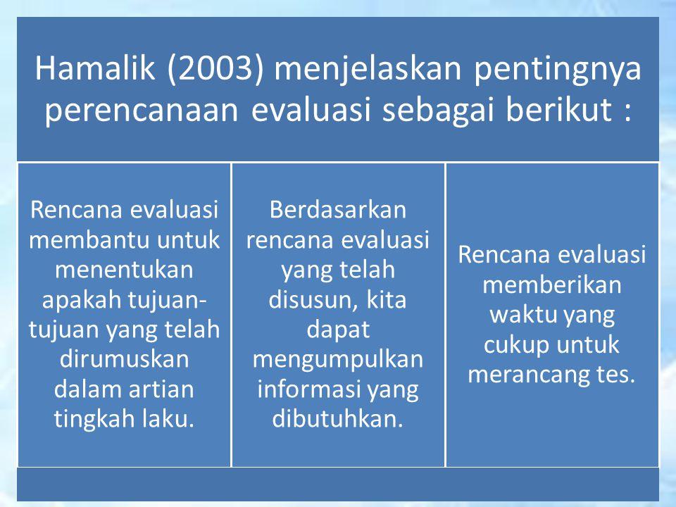 Hamalik (2003) menjelaskan pentingnya perencanaan evaluasi sebagai berikut : Rencana evaluasi membantu untuk menentukan apakah tujuan- tujuan yang tel