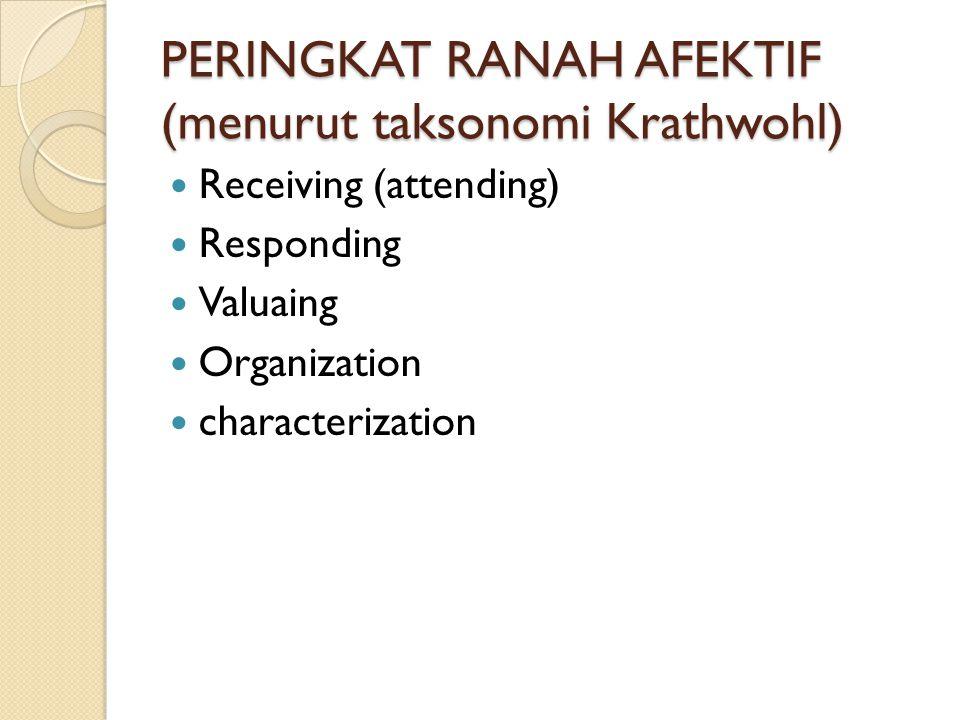 PERINGKAT RANAH AFEKTIF (menurut taksonomi Krathwohl) Receiving (attending) Responding Valuaing Organization characterization