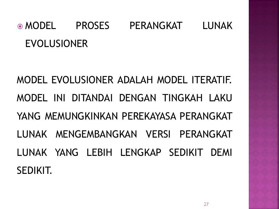  MODEL PROSES PERANGKAT LUNAK EVOLUSIONER MODEL EVOLUSIONER ADALAH MODEL ITERATIF. MODEL INI DITANDAI DENGAN TINGKAH LAKU YANG MEMUNGKINKAN PEREKAYAS