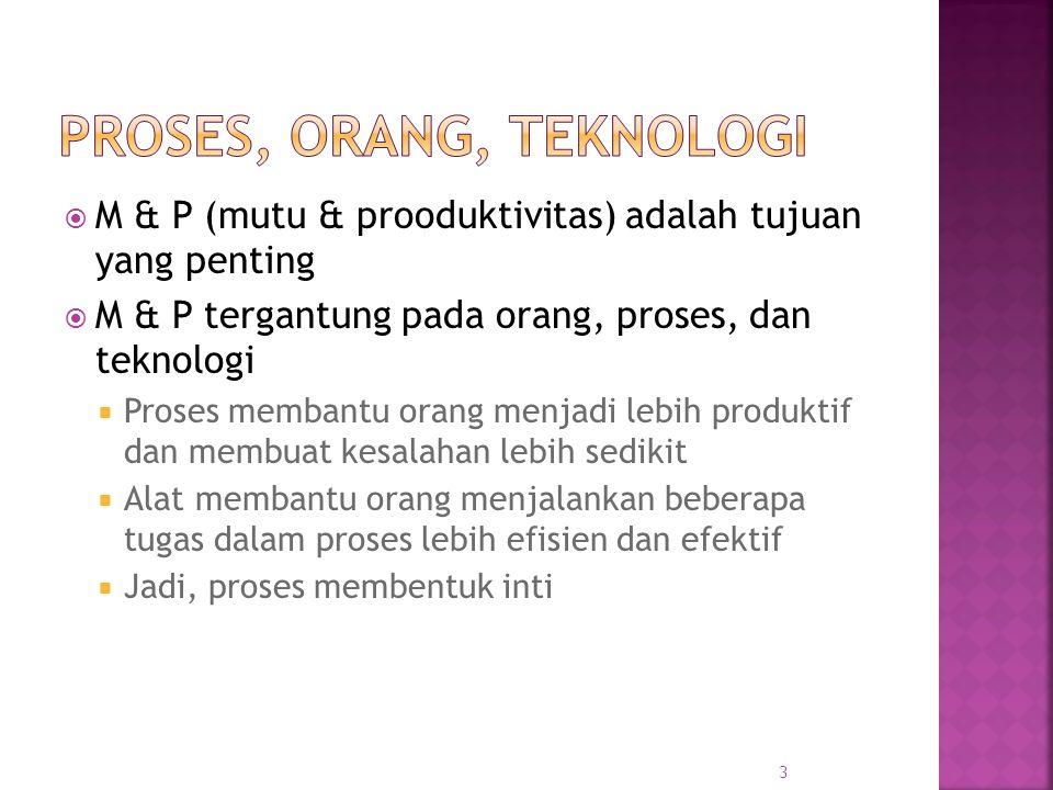  Proses berbeda dari produk - produk hasil dari melaksanakan proses pada proyek  RPL berfokus pada proses  Dasarnya: proses yang tepat akan membantu mencapai tujuan proyek dengan M&P yang tinggi 4