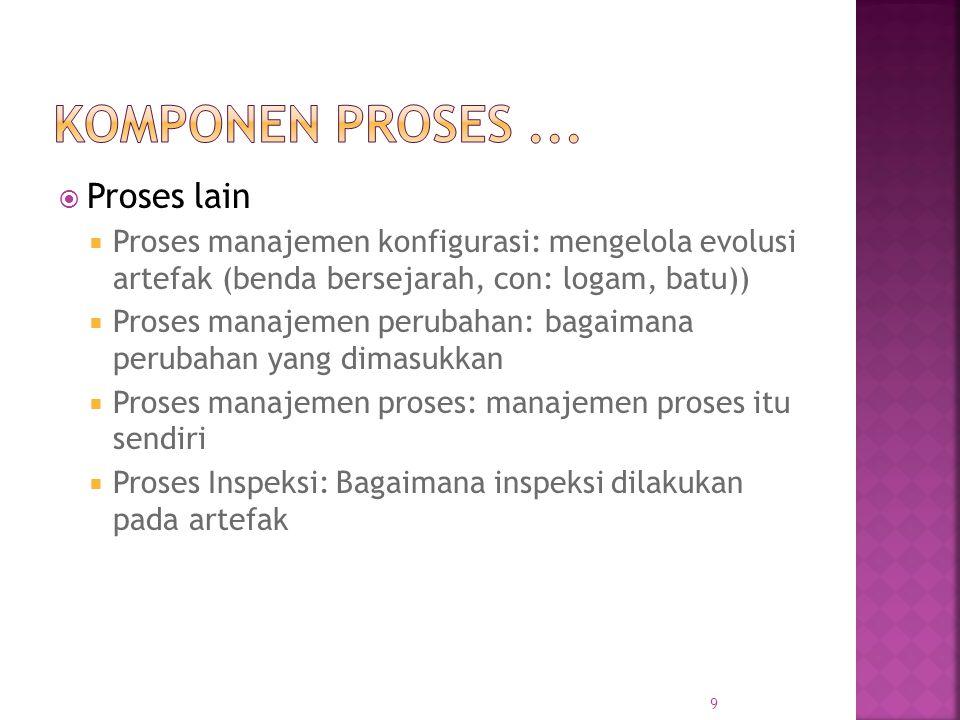  Proses umumnya satu set fase  Setiap fase melakukan tugas yang didefinisikan dengan baik dan umumnya menghasilkan keluaran  Keluaran antara - produk kerja  Pada tingkat atas, biasanya beberapa fase dalam proses  Cara melakukan fase tertentu - metodologi telah diusulkan 10