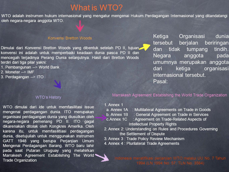WTO adalah instrumen hukum internasional yang mengatur mengenai Hukum Perdagangan Internasional yang ditandatangi oleh negara-negara anggota WTO.