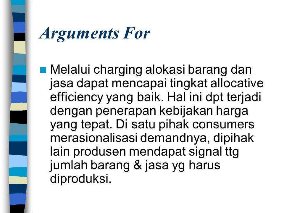 Arguments For Melalui charging alokasi barang dan jasa dapat mencapai tingkat allocative efficiency yang baik. Hal ini dpt terjadi dengan penerapan ke