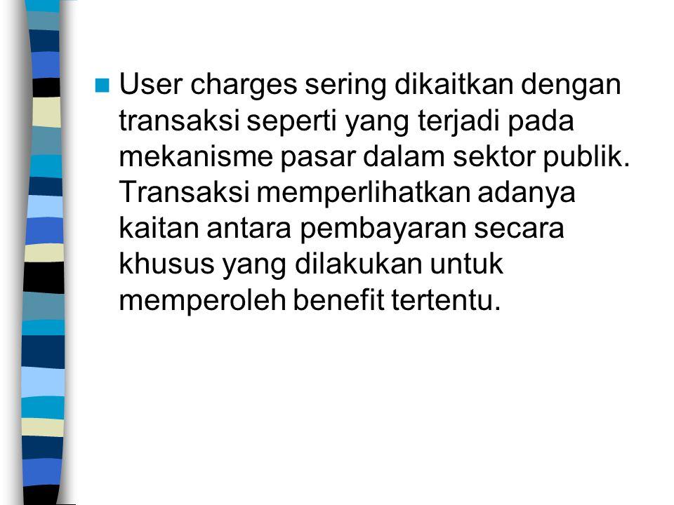 User charges sering dikaitkan dengan transaksi seperti yang terjadi pada mekanisme pasar dalam sektor publik. Transaksi memperlihatkan adanya kaitan a
