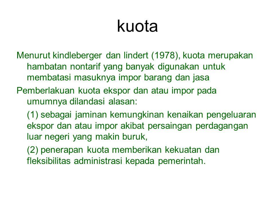 kuota Menurut kindleberger dan lindert (1978), kuota merupakan hambatan nontarif yang banyak digunakan untuk membatasi masuknya impor barang dan jasa