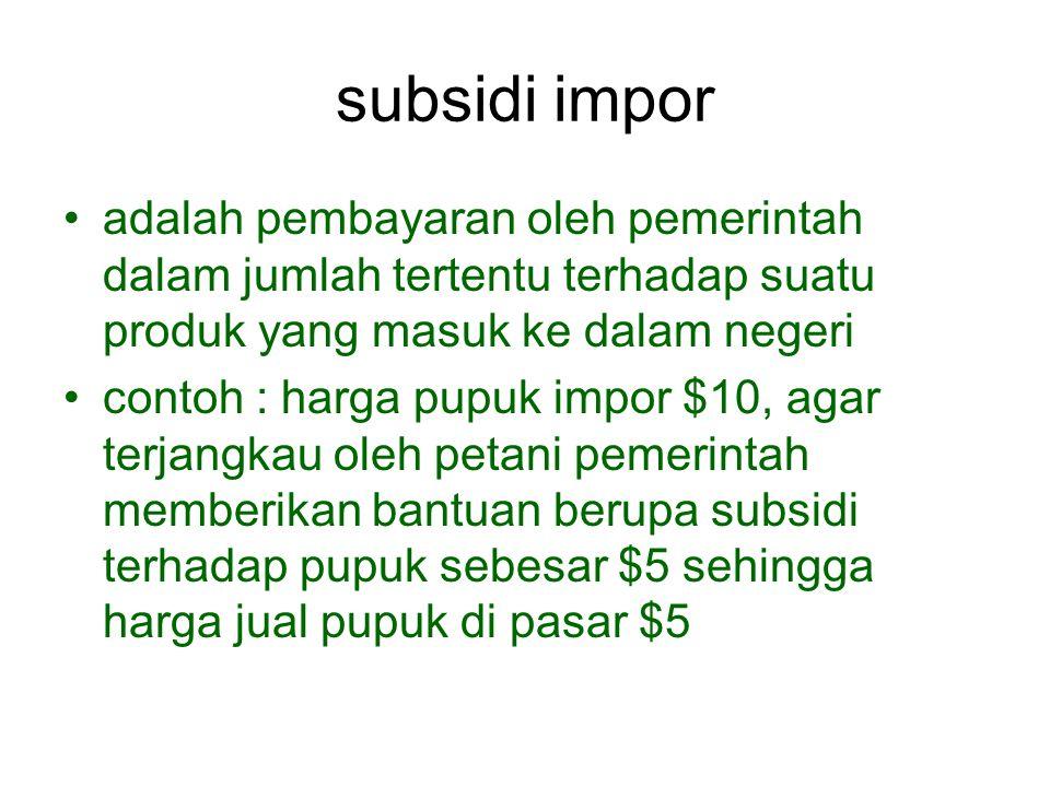 subsidi impor adalah pembayaran oleh pemerintah dalam jumlah tertentu terhadap suatu produk yang masuk ke dalam negeri contoh : harga pupuk impor $10,