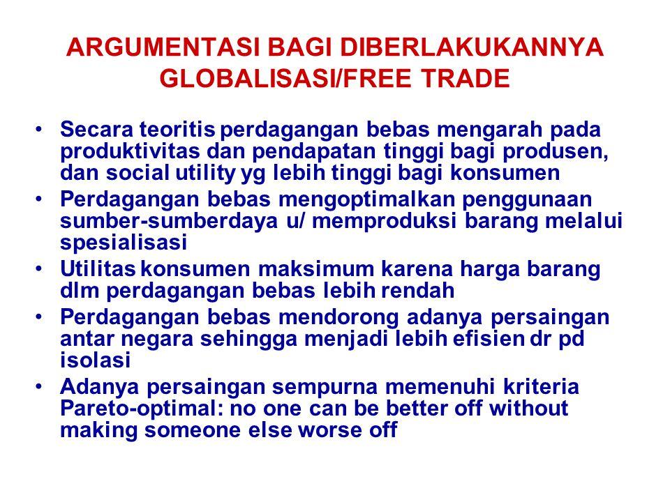 ARGUMENTASI BAGI DIBERLAKUKANNYA GLOBALISASI/FREE TRADE Secara teoritis perdagangan bebas mengarah pada produktivitas dan pendapatan tinggi bagi produ