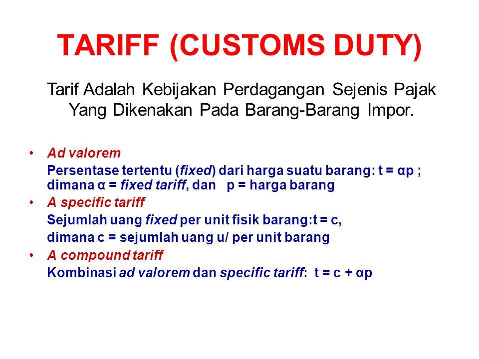 TARIFF (CUSTOMS DUTY) Ad valorem Persentase tertentu (fixed) dari harga suatu barang: t = αp ; dimana α = fixed tariff, dan p = harga barang A specifi