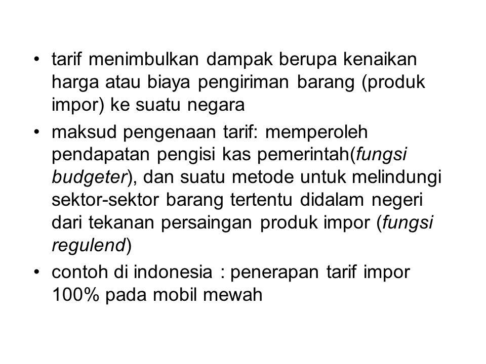 tarif menimbulkan dampak berupa kenaikan harga atau biaya pengiriman barang (produk impor) ke suatu negara maksud pengenaan tarif: memperoleh pendapat