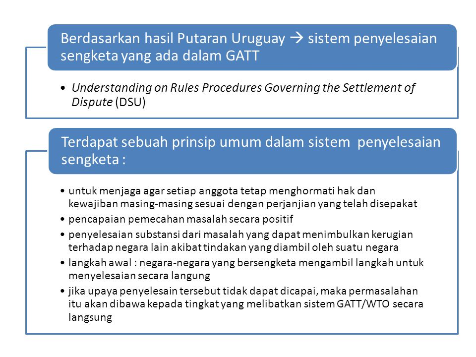 Understanding on Rules Procedures Governing the Settlement of Dispute (DSU) Berdasarkan hasil Putaran Uruguay  sistem penyelesaian sengketa yang ada