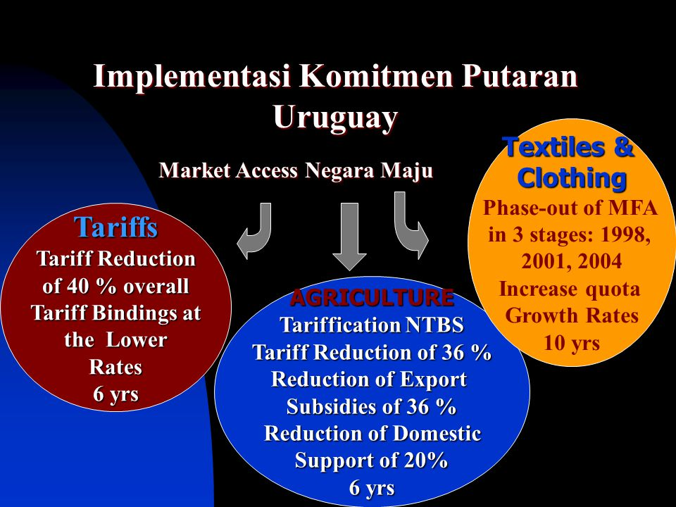 Implementasi Komitmen Putaran Uruguay Market Access Negara Maju Tariffs Tariff Reduction of 40 % overall Tariff Bindings at the Lower Rates 6 yrs AGRI