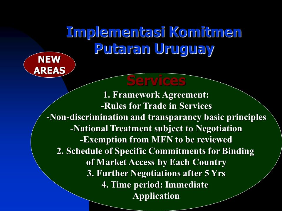 Implementasi Komitmen Putaran Uruguay Services 1. Framework Agreement: -Rules for Trade in Services -Non-discrimination and transparancy basic princip