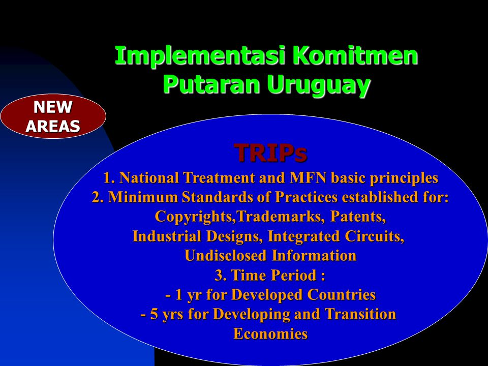 Implementasi Komitmen Putaran Uruguay TRIPs 1. National Treatment and MFN basic principles 2. Minimum Standards of Practices established for: Copyrigh