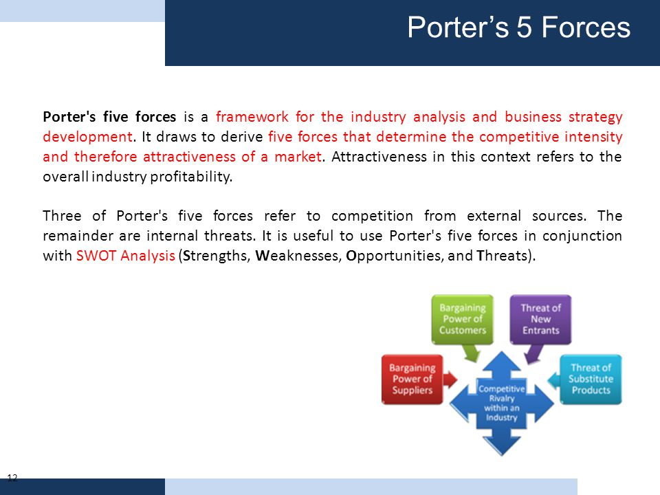 Porter's 5 Forces 12 Porter's five forces is a framework for the industry analysis and business strategy development. It draws to derive five forces t