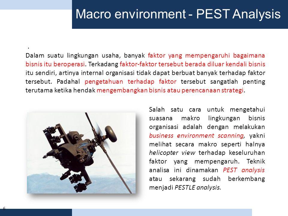 Macro environment - PEST Analysis 6. Dalam suatu lingkungan usaha, banyak faktor yang mempengaruhi bagaimana bisnis itu beroperasi. Terkadang faktor-f
