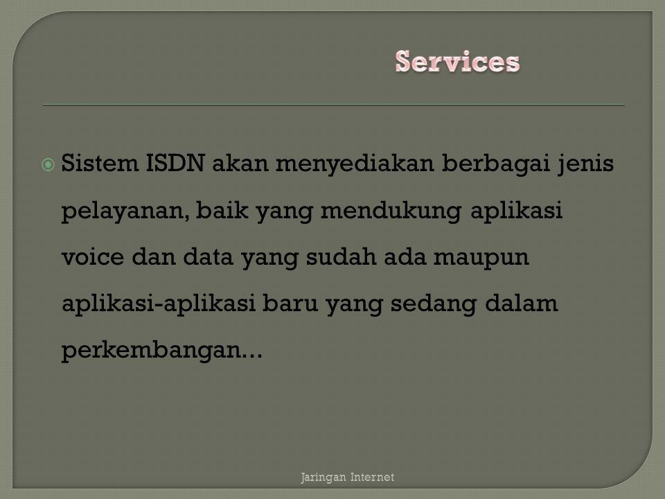  Sistem ISDN akan menyediakan berbagai jenis pelayanan, baik yang mendukung aplikasi voice dan data yang sudah ada maupun aplikasi-aplikasi baru yang