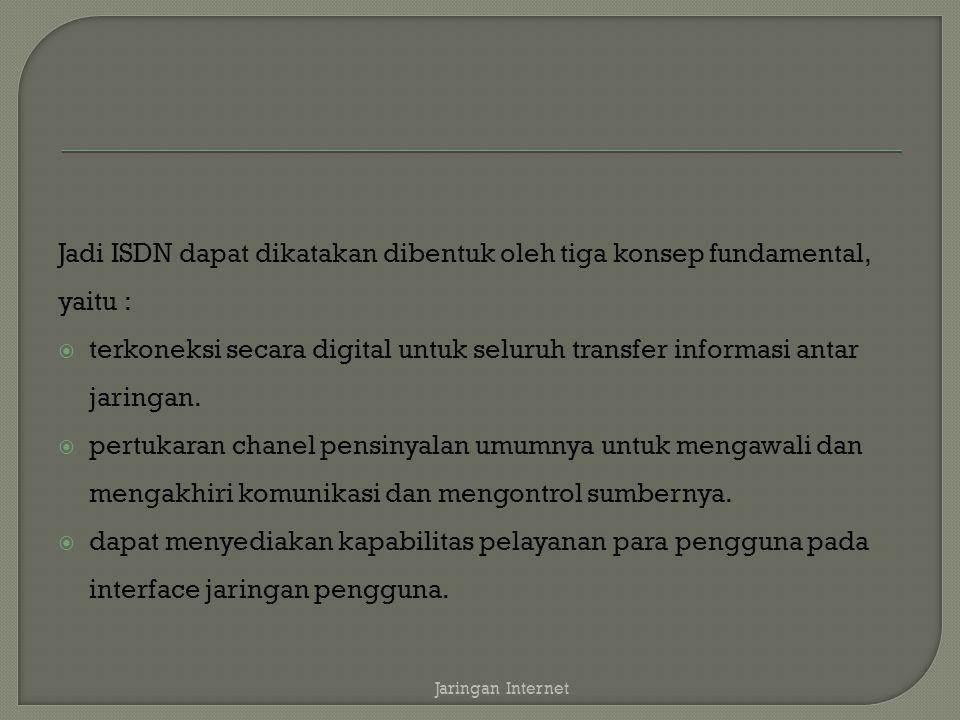 Jadi ISDN dapat dikatakan dibentuk oleh tiga konsep fundamental, yaitu :  terkoneksi secara digital untuk seluruh transfer informasi antar jaringan.