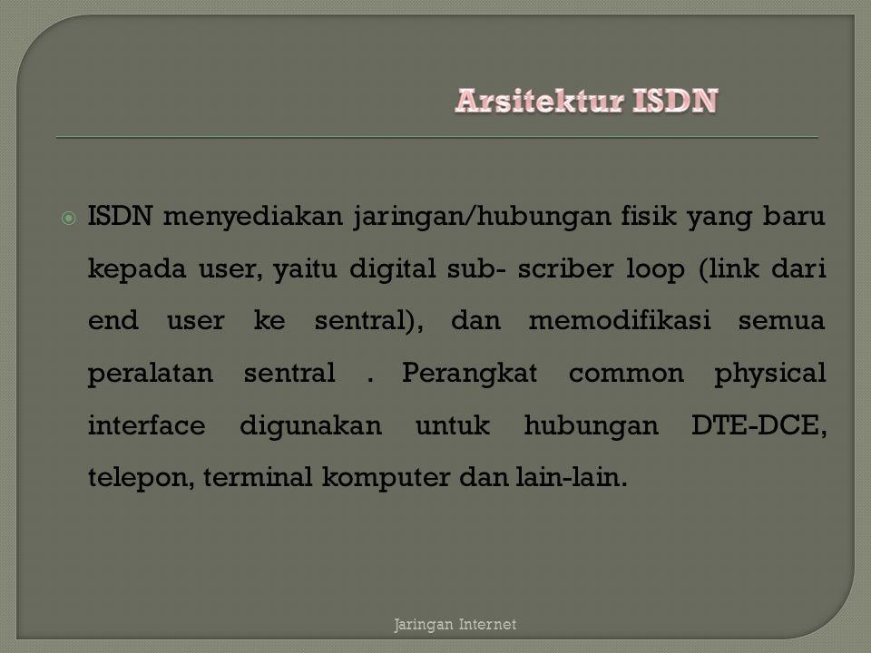  ISDN menyediakan jaringan/hubungan fisik yang baru kepada user, yaitu digital sub- scriber loop (link dari end user ke sentral), dan memodifikasi se
