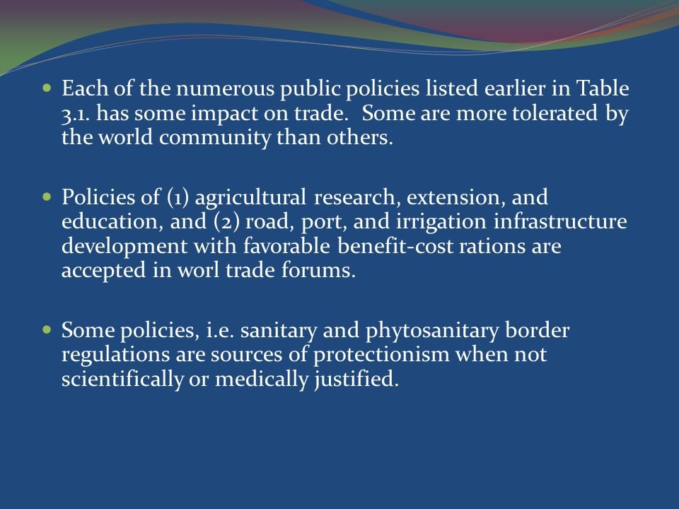 Tabel 3.1.Policies Influencing Competitiveness and Trade a.