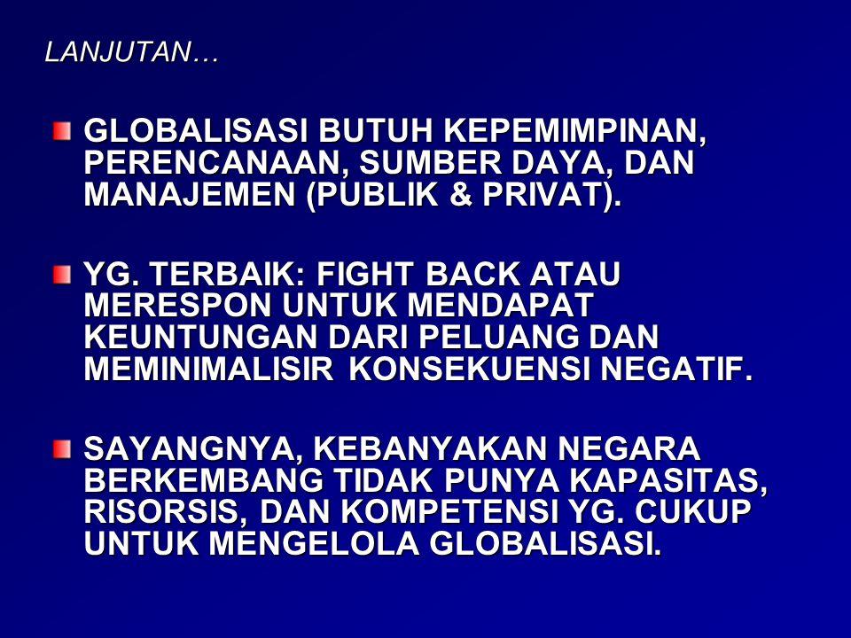 LANJUTAN… GLOBALISASI BUTUH KEPEMIMPINAN, PERENCANAAN, SUMBER DAYA, DAN MANAJEMEN (PUBLIK & PRIVAT). YG. TERBAIK: FIGHT BACK ATAU MERESPON UNTUK MENDA