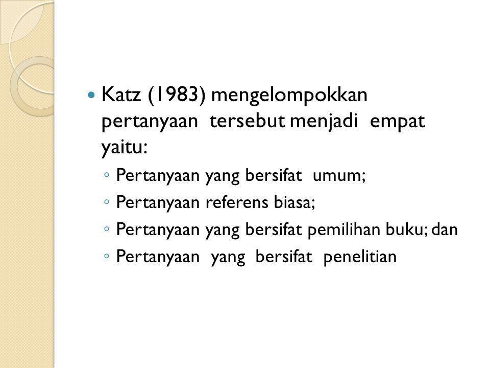 Katz (1983) mengelompokkan pertanyaan tersebut menjadi empat yaitu: ◦ Pertanyaan yang bersifat umum; ◦ Pertanyaan referens biasa; ◦ Pertanyaan yang be