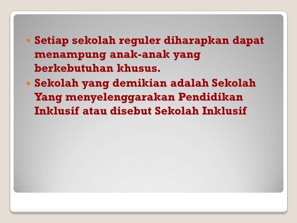 Pendidikan Inklusif di Indonesia Pendidikan inklusif dimaksudkan sebagai sistem layanan pendidikan yang mengikutsertakan anak berkebutuhan khusus bela