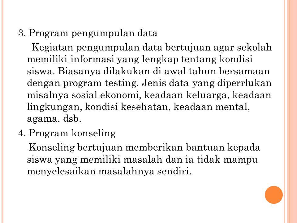 3. Program pengumpulan data Kegiatan pengumpulan data bertujuan agar sekolah memiliki informasi yang lengkap tentang kondisi siswa. Biasanya dilakukan