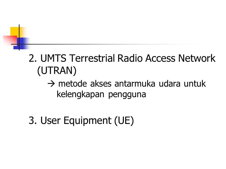 2. UMTS Terrestrial Radio Access Network (UTRAN)  metode akses antarmuka udara untuk kelengkapan pengguna 3. User Equipment (UE)