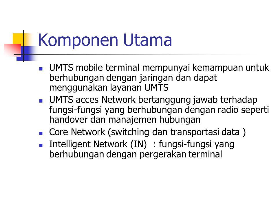 Komponen Utama UMTS mobile terminal mempunyai kemampuan untuk berhubungan dengan jaringan dan dapat menggunakan layanan UMTS UMTS acces Network bertanggung jawab terhadap fungsi-fungsi yang berhubungan dengan radio seperti handover dan manajemen hubungan Core Network (switching dan transportasi data ) Intelligent Network (IN) : fungsi-fungsi yang berhubungan dengan pergerakan terminal