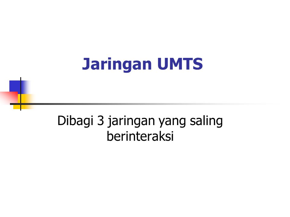 Jaringan UMTS Dibagi 3 jaringan yang saling berinteraksi