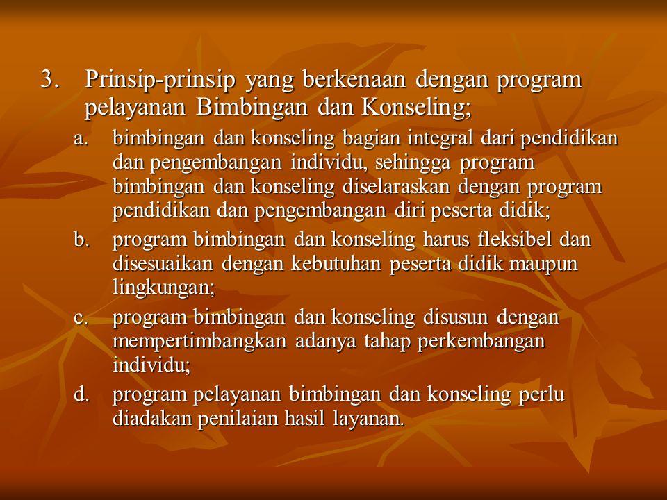 3.Prinsip-prinsip yang berkenaan dengan program pelayanan Bimbingan dan Konseling; a.bimbingan dan konseling bagian integral dari pendidikan dan penge