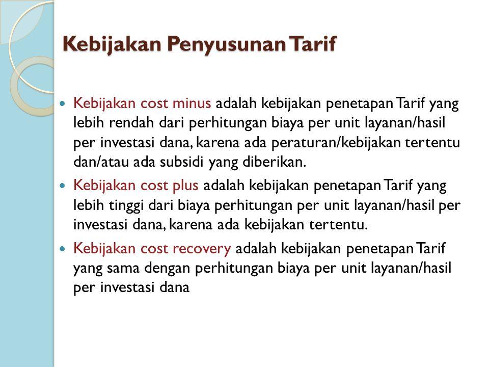 Kebijakan Penyusunan Tarif Kebijakan cost minus adalah kebijakan penetapan Tarif yang lebih rendah dari perhitungan biaya per unit layanan/hasil per i