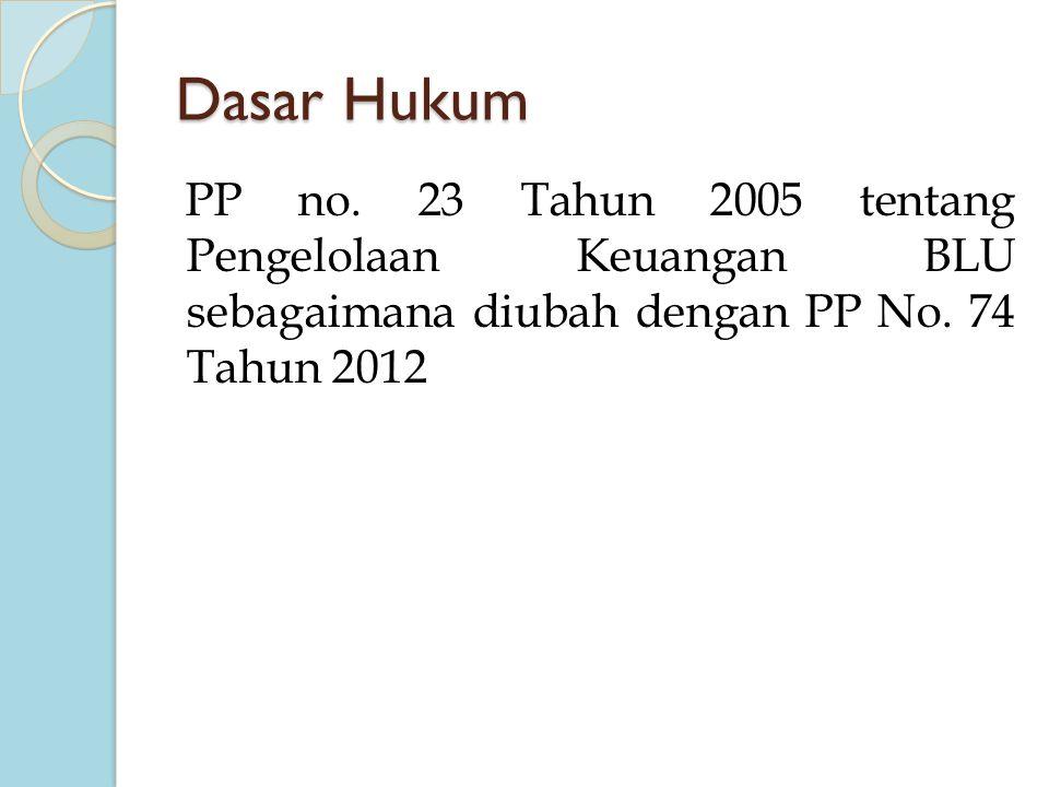 Dasar Hukum PP no. 23 Tahun 2005 tentang Pengelolaan Keuangan BLU sebagaimana diubah dengan PP No. 74 Tahun 2012