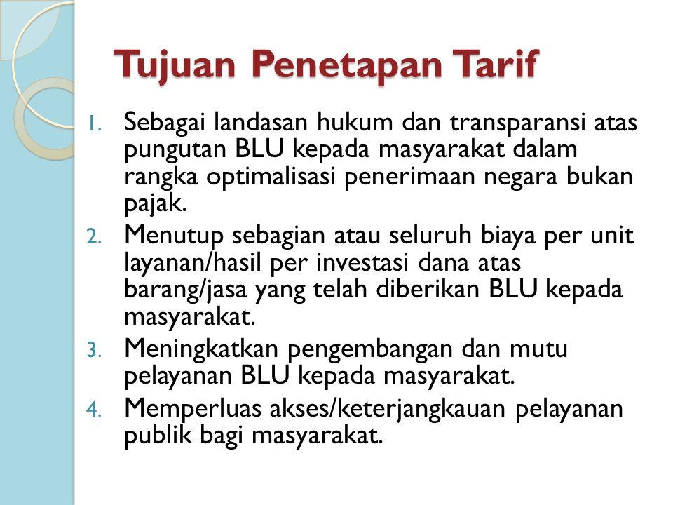 Prinsip Penetapan Tarif 1.