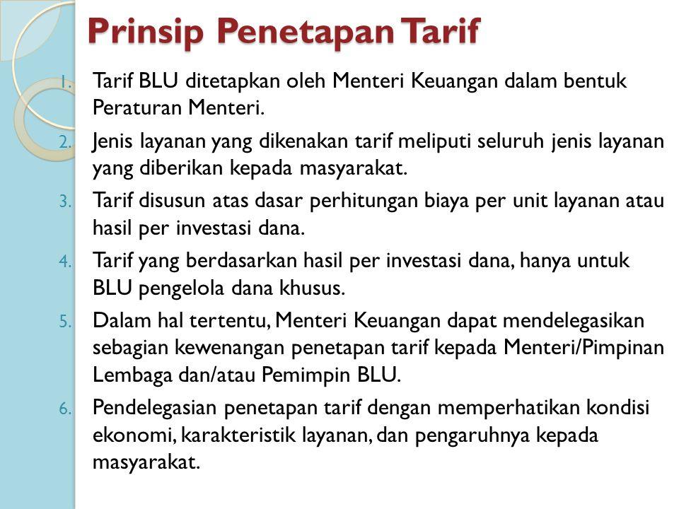 Prinsip Penetapan Tarif 1. Tarif BLU ditetapkan oleh Menteri Keuangan dalam bentuk Peraturan Menteri. 2. Jenis layanan yang dikenakan tarif meliputi s
