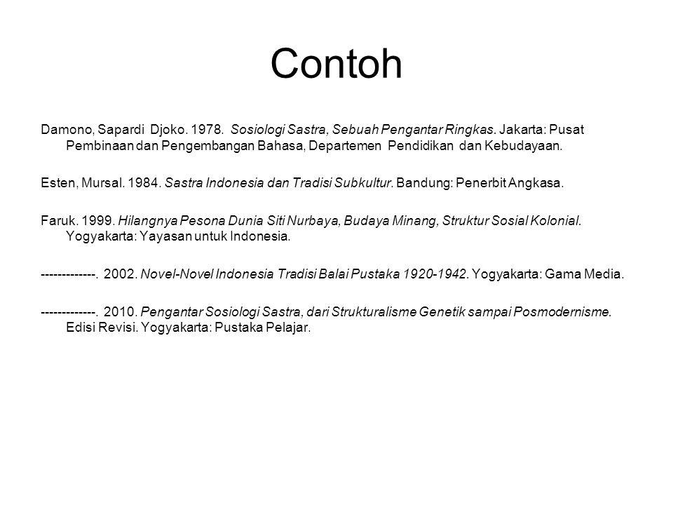 Contoh Damono, Sapardi Djoko. 1978. Sosiologi Sastra, Sebuah Pengantar Ringkas. Jakarta: Pusat Pembinaan dan Pengembangan Bahasa, Departemen Pendidika