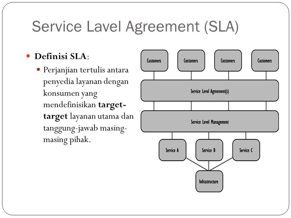 Service Lavel Agreement (SLA) Definisi SLA: Perjanjian tertulis antara penyedia layanan dengan konsumen yang mendefinisikan target- target layanan utama dan tanggung-jawab masing- masing pihak.