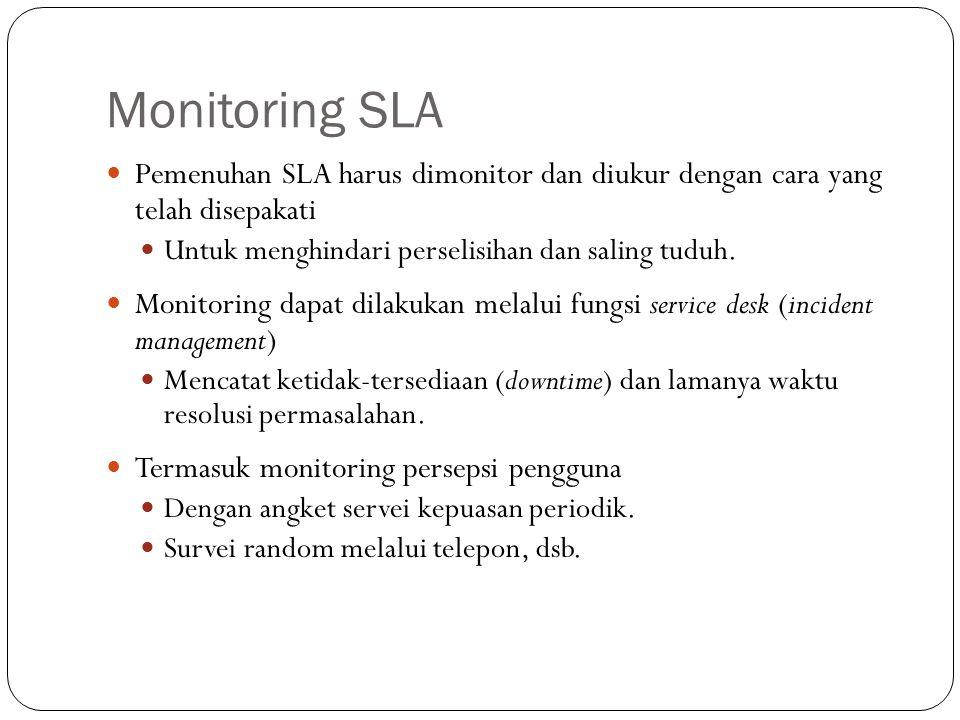 Monitoring SLA 16 Pemenuhan SLA harus dimonitor dan diukur dengan cara yang telah disepakati Untuk menghindari perselisihan dan saling tuduh.