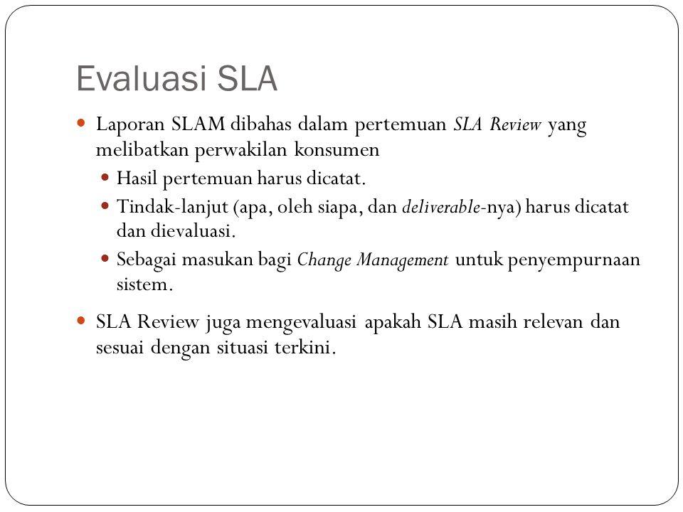 Evaluasi SLA 20 Laporan SLAM dibahas dalam pertemuan SLA Review yang melibatkan perwakilan konsumen Hasil pertemuan harus dicatat.