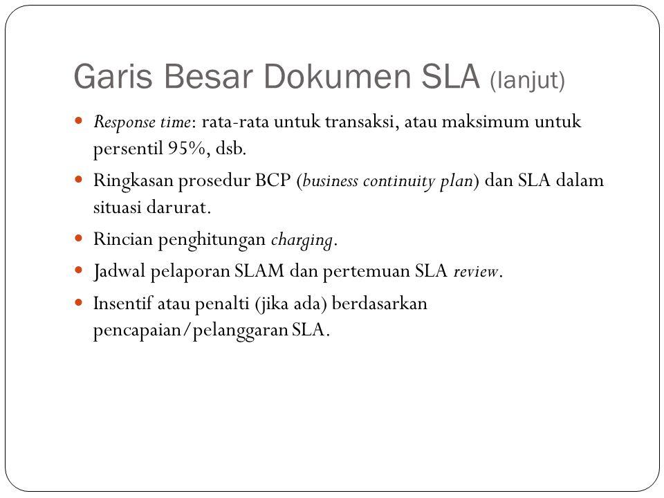 Garis Besar Dokumen SLA (lanjut) 22 Response time: rata-rata untuk transaksi, atau maksimum untuk persentil 95%, dsb.