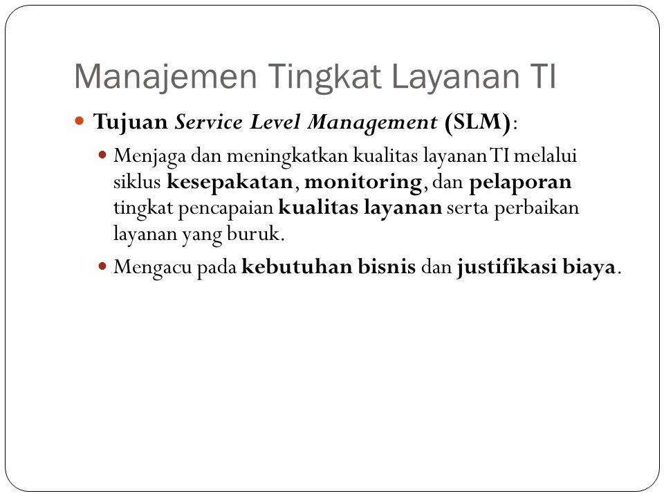 Manajemen Tingkat Layanan TI 7 Tujuan Service Level Management (SLM): Menjaga dan meningkatkan kualitas layanan TI melalui siklus kesepakatan, monitoring, dan pelaporan tingkat pencapaian kualitas layanan serta perbaikan layanan yang buruk.