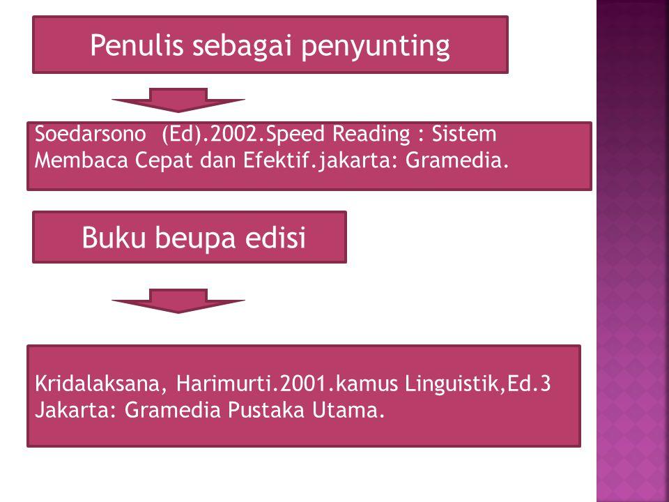 Penulis sebagai penyunting Soedarsono (Ed).2002.Speed Reading : Sistem Membaca Cepat dan Efektif.jakarta: Gramedia. Buku beupa edisi Kridalaksana, Har