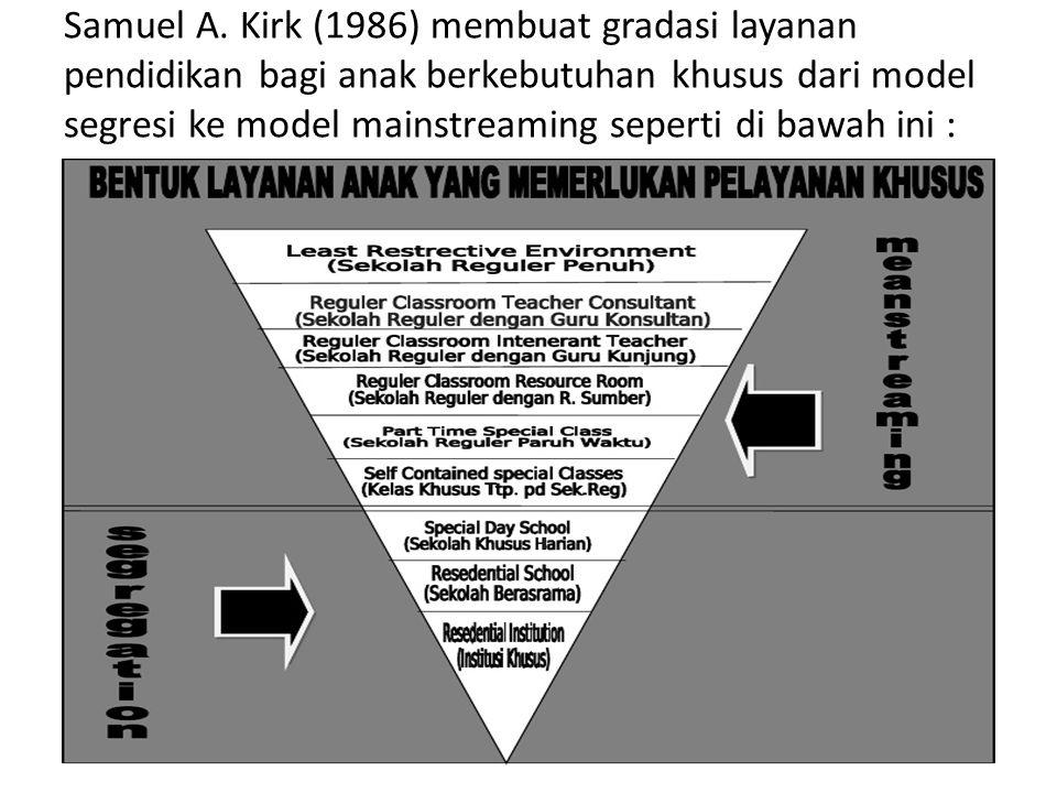 Samuel A. Kirk (1986) membuat gradasi layanan pendidikan bagi anak berkebutuhan khusus dari model segresi ke model mainstreaming seperti di bawah ini