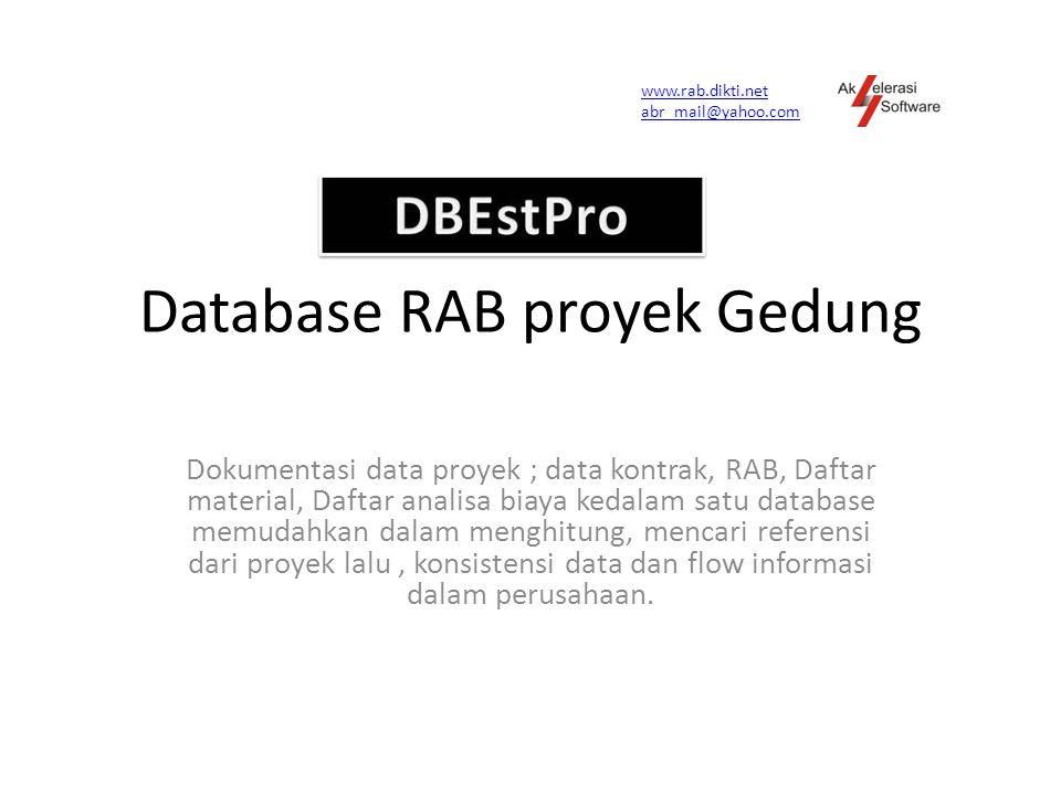Fitur Program Dalam database sudah tersedia analisa biaya Sni Import data item pekerjaan yang ada di Excel,tidak perlu pengetikan ulang.
