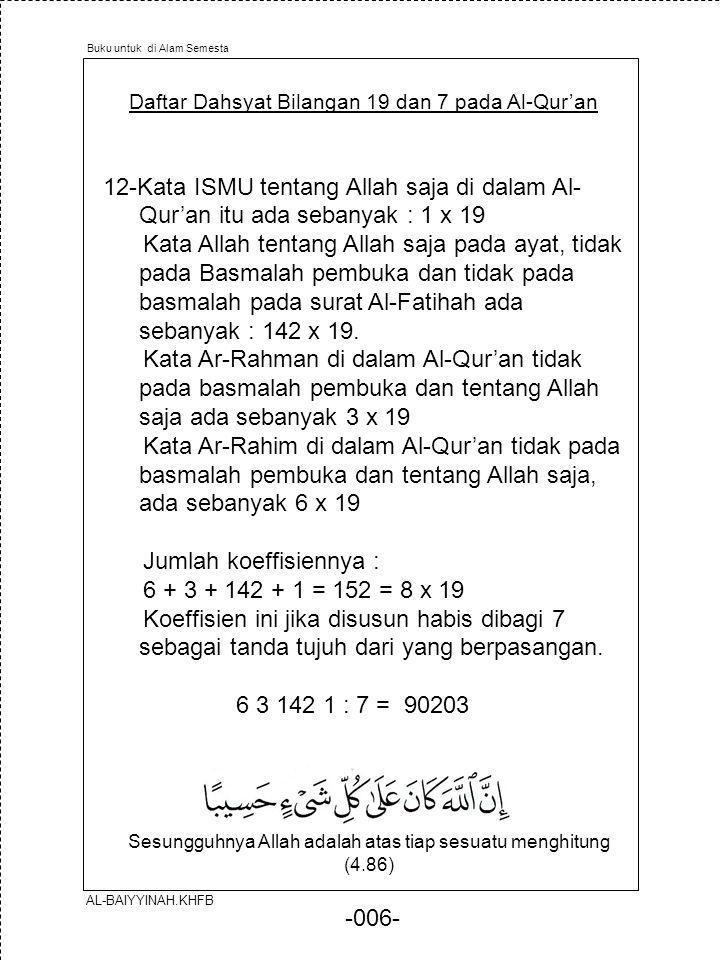 -006- Daftar Dahsyat Bilangan 19 dan 7 pada Al-Qur'an 12-Kata ISMU tentang Allah saja di dalam Al- Qur'an itu ada sebanyak : 1 x 19 Kata Allah tentang