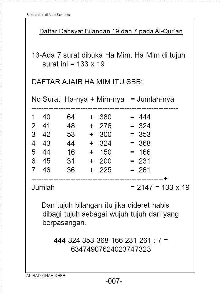 -007- Daftar Dahsyat Bilangan 19 dan 7 pada Al-Qur'an 13-Ada 7 surat dibuka Ha Mim. Ha Mim di tujuh surat ini = 133 x 19 DAFTAR AJAIB HA MIM ITU SBB: