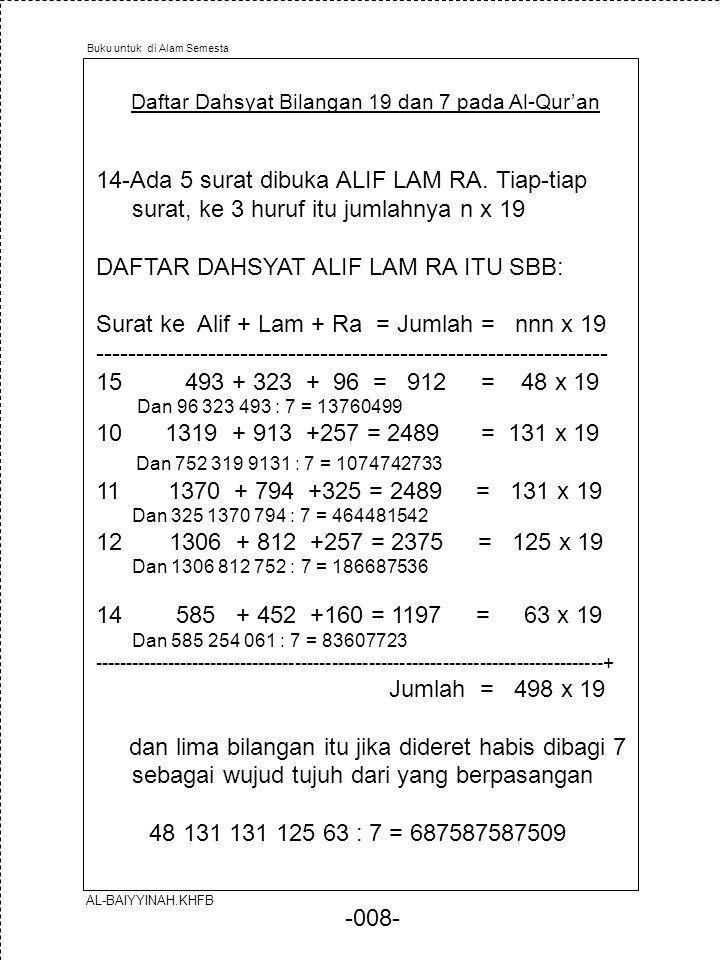 -008- Daftar Dahsyat Bilangan 19 dan 7 pada Al-Qur'an 14-Ada 5 surat dibuka ALIF LAM RA. Tiap-tiap surat, ke 3 huruf itu jumlahnya n x 19 DAFTAR DAHSY