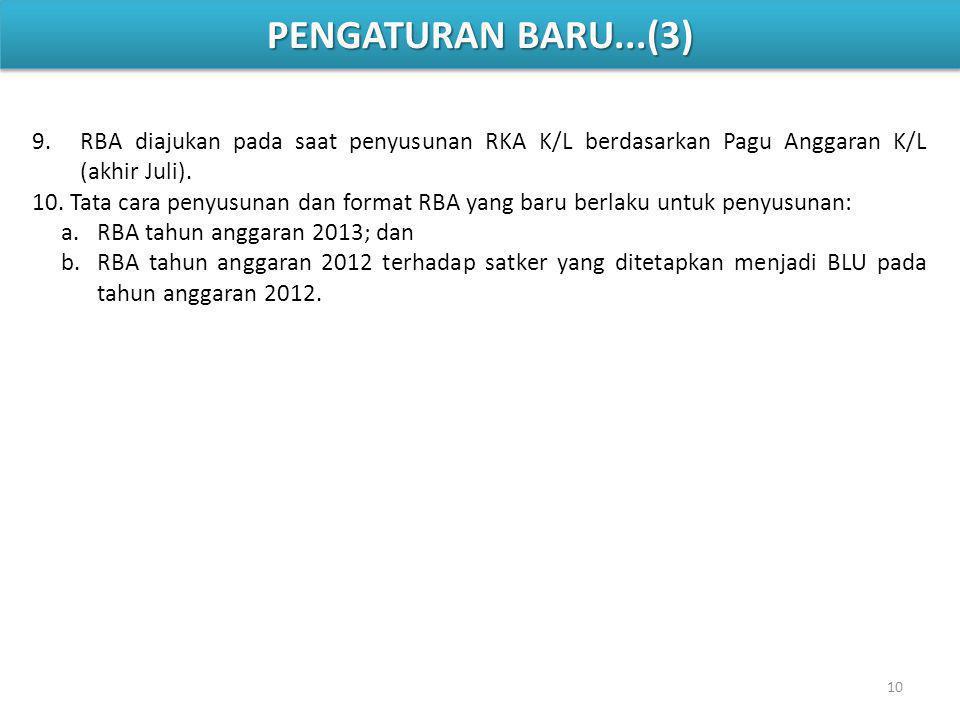 9.RBA diajukan pada saat penyusunan RKA K/L berdasarkan Pagu Anggaran K/L (akhir Juli).