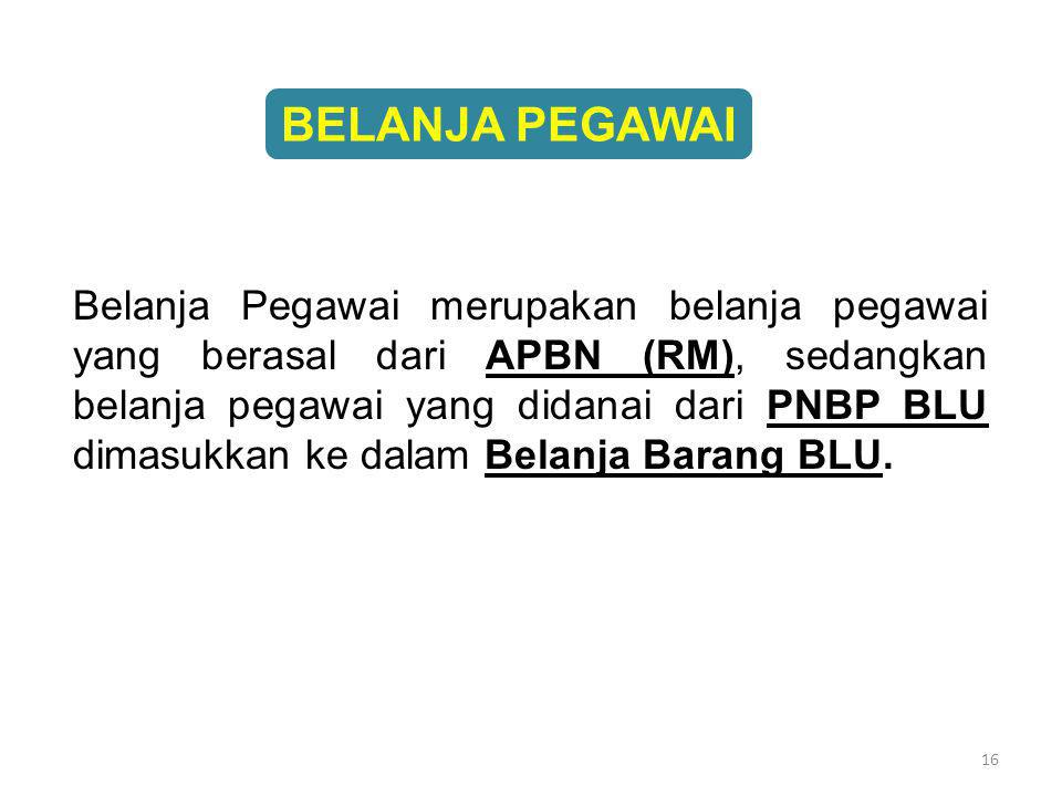 16 Belanja Pegawai merupakan belanja pegawai yang berasal dari APBN (RM), sedangkan belanja pegawai yang didanai dari PNBP BLU dimasukkan ke dalam Bel