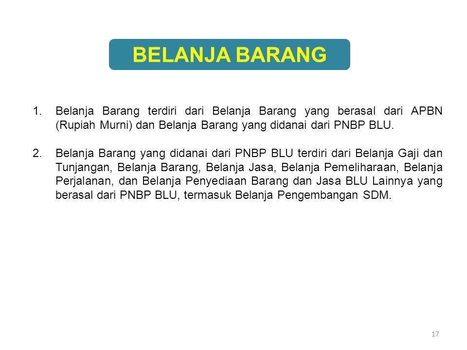 17 BELANJA BARANG 1.Belanja Barang terdiri dari Belanja Barang yang berasal dari APBN (Rupiah Murni) dan Belanja Barang yang didanai dari PNBP BLU. 2.